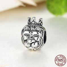 Re della giungla Testa di Leone 100% argento sterling 925 adatta misure Pandora charm Pandora bead Braccialetto europeo PAS218 di OceanBijoux su Etsy