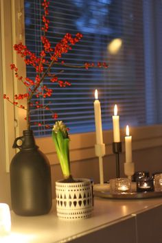 Christmas red berries hyacint candles