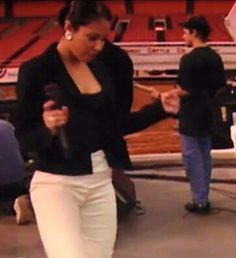 Selena practicing her dance moves