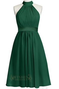 Halter Neckline,chiffon dress in green and pink,insert belt at waist.Floor length is also available. Neckline:Halter Length:Knee length Details:Halter top with cascading back. Fabric:Chiffon Color:Gre
