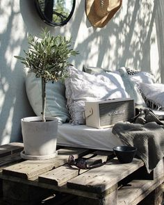 rustic outdoor details with potted plants and interesting textures.