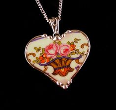 Broken china jewelry heart pendant vintage roses made from a broken antique plate