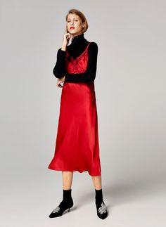 Red silk camisole dress - Dresses and Skirts - Ready to wear - Uterqüe United Kingdom