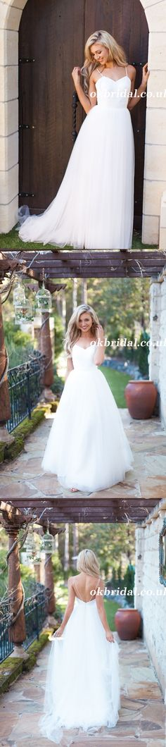 Spaghetti Straps Wedding Dress, Lace Top Wedding Dress, Tulle Bridal Dress, Backless Wedding Dress, Beach Wedding Dress, LB0912 #okbridal #weddingdress