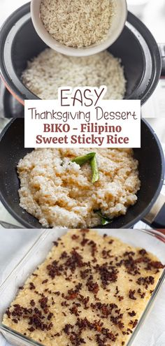 Biko is a famous Filipino sweet sticky rice dessert. Try this quick and easy to make thanksgiving dessert using 6 ingredients only. It's perfect to eat with a steaming hot chocolate or your favorite blend of coffee! Rice Desserts, Dessert Cake Recipes, Filipino Desserts, Filipino Recipes, Biko Recipe, Sweet Sticky Rice, Rice Plant, Thanksgiving Desserts Easy, Glutinous Rice