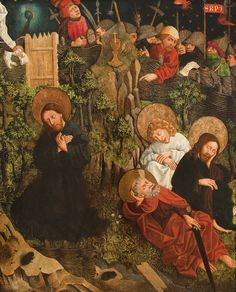 Prayer in Gethsemane // 1468 // Nicolaus Haberschrack // A panel from the main altar retable in the Augustinian church in Krakow // National Museum in Krakow // #Jesus #Christ #Cristo