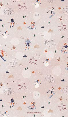 'little skiers' surface pattern design by mellemimijolie