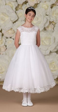 First Communion Dress with Floral Lace Bodice and Hemline - White