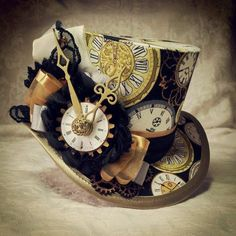 Mad Hatter, Alice in Wonderland, Steampunk Hat, Mini Top Hat, Tea Party, Sherlock, Gothic Hat, Lolita, Cosplay, Women Steampunk Hats, Kitsch