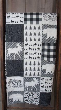 Baby Boy Quilt Baby/Toddler Blanket Woodland Deer by Babylooms