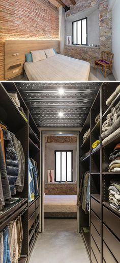 Off to the side of this renovated bedroom is a walk-in closet with plenty of storage for clothing.