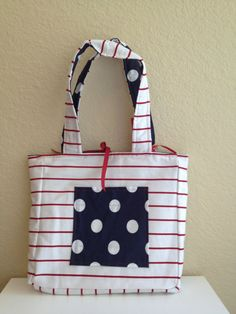 Rockabilly Nautical Polka Dot and Striped Purse on Etsy, $25.00