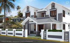 compound wall design for house – Decoration ideas House Front Wall Design, Fence Wall Design, Modern Fence Design, Front Gate Design, House Outside Design, Village House Design, Kerala House Design, Rustic Design, Door Design