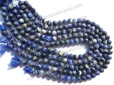Sodalite Smooth Round (Quality C) (4Strands) / 8.5 to 9.5 mm /  33 to 36 Grms / 36 cm / SOD-011 by GemstoneWholesaler on Etsy