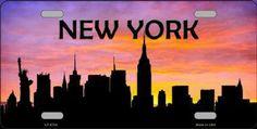 New York   Skyline Silhouette Car Truck Tag License Plate