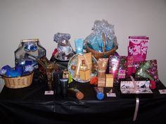 Variety of baskets created to show off Mary Kay products