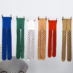 OK OK Tights in every color! The first production of OK OK hosiery was manufactured in the last remaining Hosiery knitting factory in Australia.   OK OK Nylon Stripe tights are Beetlejuice and 90's ... OK OK Nylon Dot Tights are SPOTTY and fun!