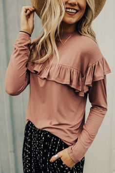 Spring Ribbed Ruffle Blouse | ROOLEE