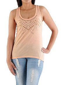 Ombre Studded Neck Tank