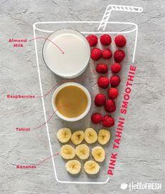 different colored tahini smoothies-raspberry-banana-recipe-infographic-HelloFres… verschiedenfarbige Tahini Smoothies-Himbeer-Bananen-Rezept-Infografik-HelloFresh How To Make Smoothies, Smoothies For Kids, Yummy Smoothies, Breakfast Smoothies, Smoothie Drinks, Smoothie Bowl, Tahini, Meal Replacement Shakes, Meal Replacement Smoothies