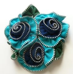 Turquoise and Navy Blue Multi Flower Floral Brooch / Zipper Pin - 2998 by… Zipper Flowers, Diy Flowers, Fabric Flowers, Zipper Crafts, Sewing Crafts, Jewelry Crafts, Handmade Jewelry, Handmade Gifts, Zipper Jewelry