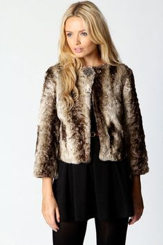 ShopStyle: Penny Faux Fur 3/4 Sleeve Jacket - Was £ 40 now £25