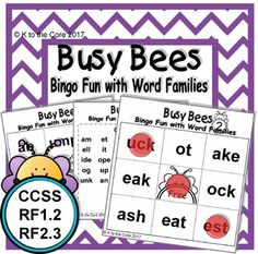 Busy Bees Bingo Fun with Word Families - Real Time - Diet, Exercise, Fitness, Finance You for Healthy articles ideas Common Core Math, Common Core Standards, Bingo Sheets, Parent Board, Short Vowel Sounds, Sound Words, Busy Bee, Word Families, Teaching Materials