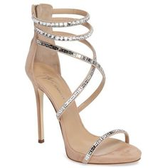 Women's Giuseppe Zanotti Strappy Sandal ($1,495) ❤️ liked on Polyvore featuring shoes, sandals, nude, heels stilettos, stiletto sandals, ankle tie sandals, strap shoes and nude strappy shoes