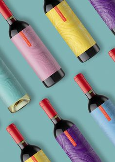 Summerwind Wine label design by Watermark Design / packaging bright colorful modern full wrap label red capsules vineyard and winery branding Wine Bottle Design, Wine Label Design, Wine Bottle Labels, Beverage Packaging, Bottle Packaging, Packaging Design Inspiration, Design Packaging, Vino Color, Watermark Design