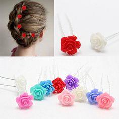 5 pc/lot de La Muchacha Headwear Horquillas de Novia Joyería de la boda Accesorios Red Colorida Flor de Rose en Forma de U Pernos de Pelo Bollo Clip de Palo HP084