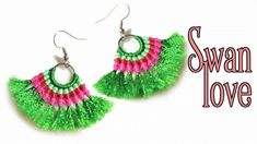 Macrame tutorial earrings: The swan love - Easy macrame idea craft