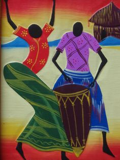 Carved P African female dancer& male drummer African Dance, African Paintings, Africa Art, Black Artists, Native Art, Fabric Painting, My Animal, Indian Art, Art Google