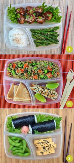 Bento box ideas... I know where these trays come from. We just bought some from walmart lol! They are awesome! ~M Lunchbox Ideas, Bento Lunch Ideas, Office Lunch Ideas, Bento Lunchbox, Bento Box Lunch For Kids, Lunch Box Recipes, Lunch Snacks, Salad Lunch Box, Lunch Boxes