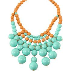 This large retro acrylic bauble bib necklace is 18  + 3  extender.