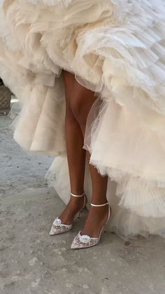 Flower beaded wedding heels made for a modern bride. These Norah wedding shoes are stunning under your satin wedding dress.