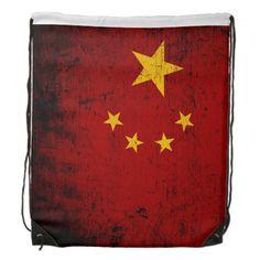 Black Grunge China Flag Cinch Bag