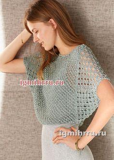 Легкий серо-зеленый пуловер с рукавами «летучая мышь». Вязание спицами