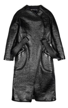 Crackled Lacquer Wool Blend Coat by Kenzo for Preorder on Moda Operandi Fashion Now, Fashion Black, Cool Coats, Androgynous Fashion, Belted Coat, Street Outfit, Wearing Black, Kenzo, New Outfits