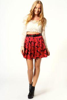 Olivia Rose Print Chiffon Skater Skirt at boohoo.com