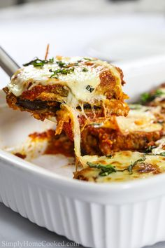 Baked Eggplant Parmesan Recipe - Simply Home Cooked Italian Eggplant Recipes, Italian Dishes, Baked Eggplant, Eggplant Parmesan, Cajun Chicken Pasta, Pasta Salad Italian, English Food, Ground Beef Recipes, Casserole Dishes