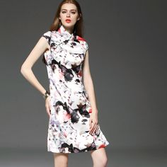 2015 été nouvelles femmes style décontracté robe tempérament trajet de bureau OL grande marque têtes de chat mode imprimer robes MIDI dans Robes de Accessoires et vêtements pour femmes sur AliExpress.com | Alibaba Group