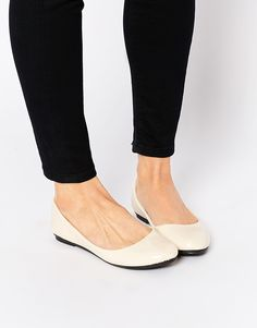 Image 1 of Daisy Street Cream Patent Ballet Flat Shoes