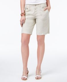 Style & Co Zippered-Pocket Shorts, Only at Macy's - Tan/Beige 12