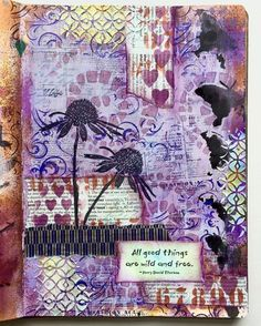 Art journal page. Rubber stamps, inks, paint, stencils, texture paste, India inks, papers and collage.
