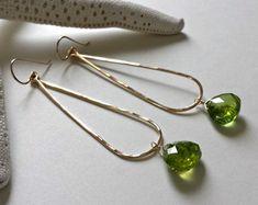 Long Peridot Earrings, Gold Peridot Hoops, August Birthstone, Green Gemstone Hoops, Boho Hoop Earrings, Peridot Dangle