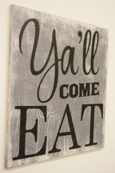 Yall Come Eat Wood Sign Kitchen Dining Room Vintage Wall Decor Farmhouse