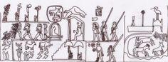 Raffigurazione della testa di mazza di Narmer. È ben visibile il re assiso sotto il padiglione e davanti a lui la lettiga con una sagoma avvolta in un mantello. Disegno di Sabina Marineo. Re, Ancient Egypt, Temples, Archaeology, Civilization, Egyptian