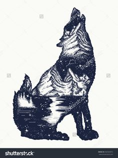 Find Wolf Double Exposure Tattoo Art Symbol stock images in HD and millions of other royalty-free stock photos, illustrations and vectors in the Shutterstock collection. Wolf Tattoos, Animal Tattoos, Girl Tattoos, Tatoos, Tatoo Adventure, Adventure Symbol, Adventure Awaits, Wolf Outline, Lobo Tribal