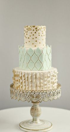 a mint and gold wedding cake by andrea howard cakes | see more wedding cakes at http://boards.styleunveiled.com/all/cakes-and-desserts