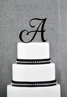 Initial Monogram Wedding Cake Topper by Chicago by ChicagoFactory